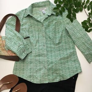 G.H. Bass Stretch Green Button Up Blouse, sz S